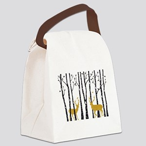 Gold Christmas deer Canvas Lunch Bag