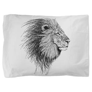 Lion (Black and White) Pillow Sham