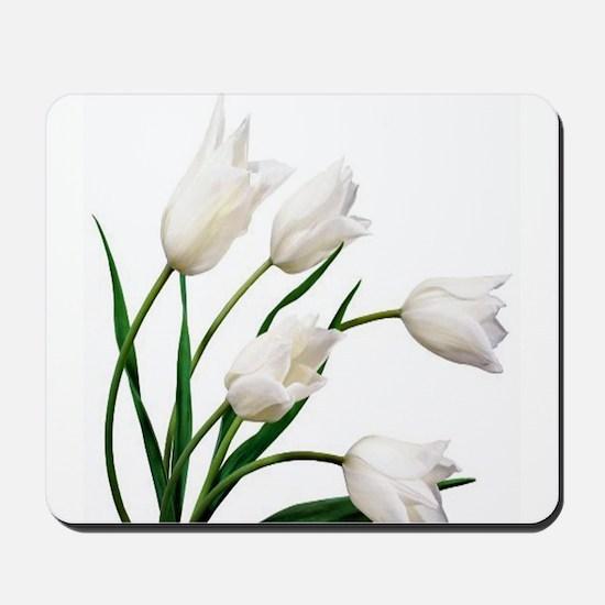Snow White Tulip Flowers Mousepad