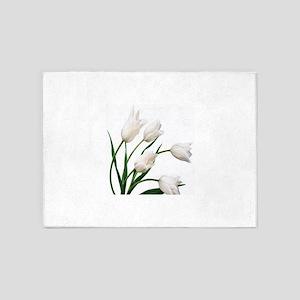 Snow White Tulip Flowers 5'x7'Area Rug