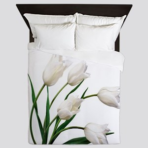 Snow White Tulip Flowers Queen Duvet