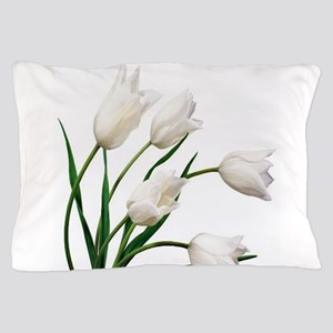 Snow White Tulip Flowers Pillow Case