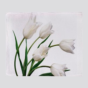 Snow White Tulip Flowers Throw Blanket