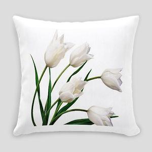 Snow White Tulip Flowers Everyday Pillow