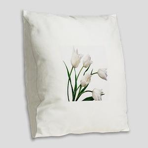 Snow White Tulip Flowers Burlap Throw Pillow