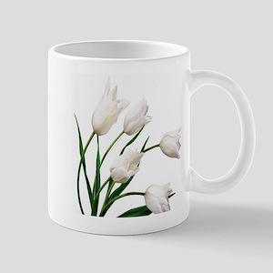 Snow White Tulip Flowers Mugs