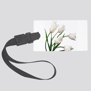Snow White Tulip Flowers Large Luggage Tag