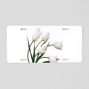 Snow White Tulip Flowers Aluminum License Plate