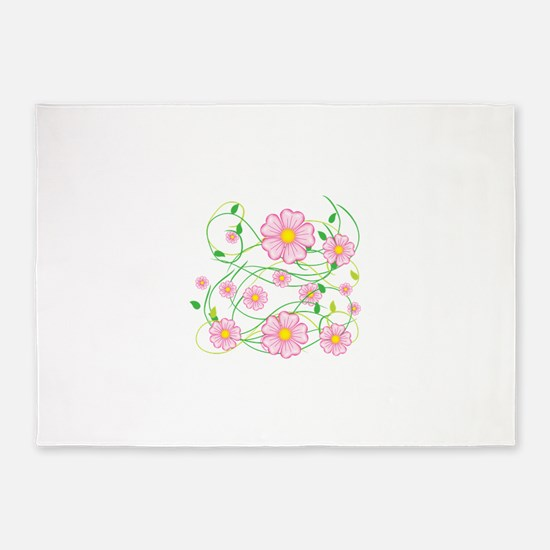 Pink Flowers 5'x7'area Rug