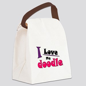 I Love My Doodle Canvas Lunch Bag