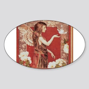 A Red Angel Oval Sticker