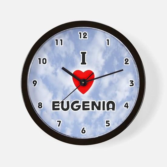 I Love Eugenia (Black) Valentine Wall Clock