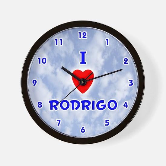 I Love Rodrigo (Blue) Valentine Wall Clock