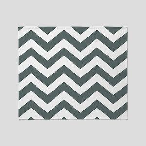 Grey, Steel: Chevron Pattern Throw Blanket