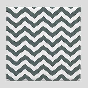 Grey, Steel: Chevron Pattern Tile Coaster