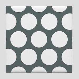Grey, Steel: Polka Dots Pattern (Larg Tile Coaster