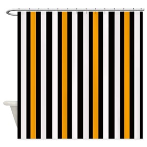 Orange Black Stripe Shower Curtains