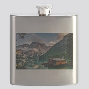 Italian Mountains Lake Landscape Photo Flask