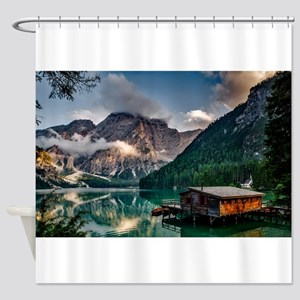 Italian Mountains Lake Landscape Ph Shower Curtain