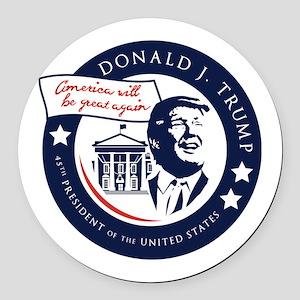 Trump 45th President Round Car Magnet