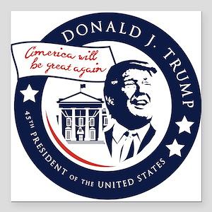 "Trump 45th President Square Car Magnet 3"" x 3"""