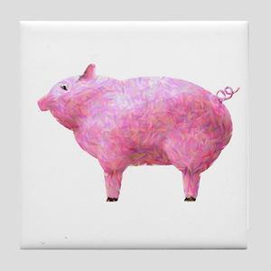 Pig Impressionistic Tile Coaster