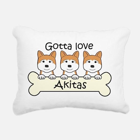Cute Akitas Rectangular Canvas Pillow