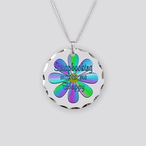 Scrapbooking Happy Necklace Circle Charm