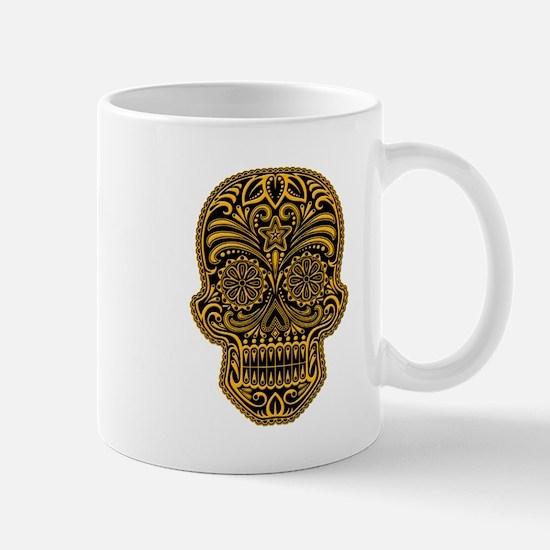 Intricate Yellow and Black Sugar Skull Mugs