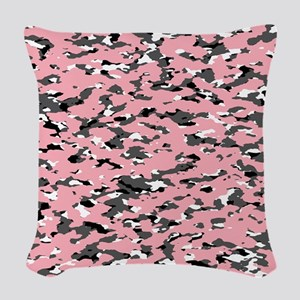 Camouflage: Pink II Woven Throw Pillow