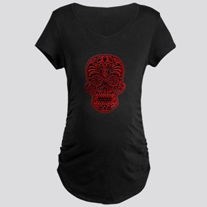 Intricate Red and Black Sugar Skull Maternity T-Sh