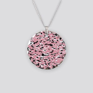 Camouflage: Pink III Necklace Circle Charm