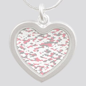 Camouflage: Pink IV Silver Heart Necklace