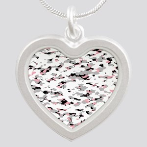Camouflage: Pink V Silver Heart Necklace