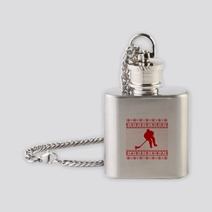 Ugly Hockey Xmas Sweater Flask Necklace