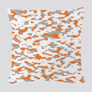 Camouflage: Orange III Woven Throw Pillow