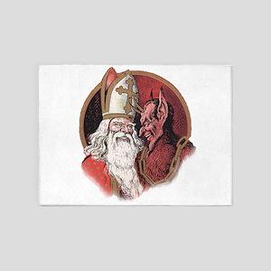 Krampus and Santa Christmas 5'x7'Area Rug