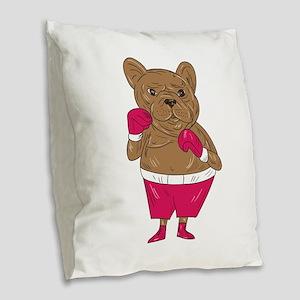 French Bulldog Boxer Boxing Stance Cartoon Burlap