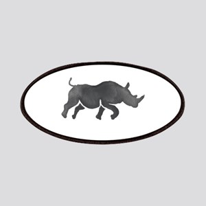 Rhinoceros Silhouette Running Watercolor Patch