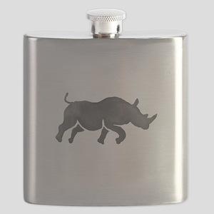 Rhinoceros Silhouette Running Watercolor Flask