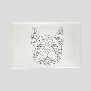 French Bulldog Head Mandala Magnets