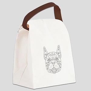 French Bulldog Head Mandala Canvas Lunch Bag