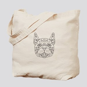 French Bulldog Head Mandala Tote Bag