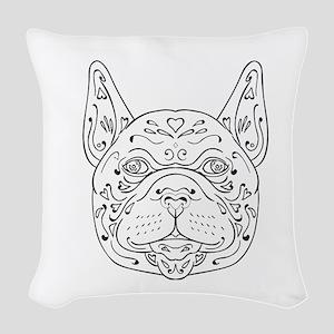 French Bulldog Head Mandala Woven Throw Pillow