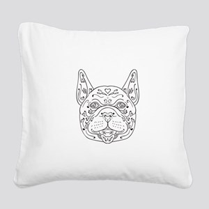 French Bulldog Head Mandala Square Canvas Pillow