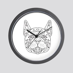 French Bulldog Head Mandala Wall Clock