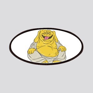 Laughing Bulldog Buddha Sitting Cartoon Patch