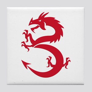Red Dragon Prancing Silhouette Retro Tile Coaster
