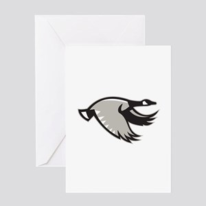 Canada Goose Flying Retro Greeting Cards