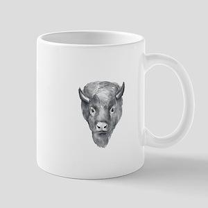 American Bison Head Watercolor Mugs